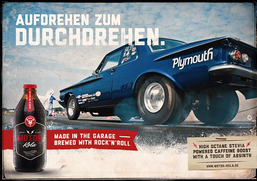 Motor Kola Launchkampagne Motiv Burnout